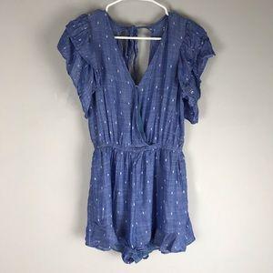 AEO embroidered ruffle romper blue v neck